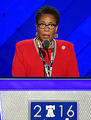 United States Representative Marcia Fudge (Democrat of Ohio), Democratic Convention Chair, makes remarks at the 2016 Democratic National Convention at the Wells Fargo Center in Philadelphia, Pennsylvania on Monday, July 25, 2016.<br /> Credit: Ron Sachs / CNP<br /> (RESTRICTION: NO New York or New Jersey Newspapers or newspapers within a 75 mile radius of New York City)