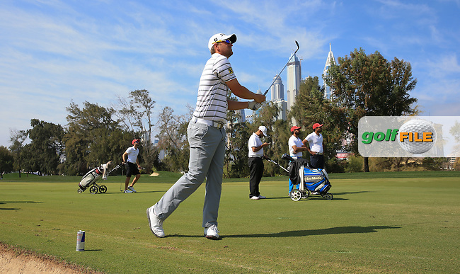 Bernd Wiesberger (AUT) plays up the first fairway during the Pro-Am at the 2016 Omega Dubai Desert Classic, played on the Emirates Golf Club, Dubai, United Arab Emirates.  03/02/2016. Picture: Golffile | David Lloyd<br /> <br /> All photos usage must carry mandatory copyright credit (&copy; Golffile | David Lloyd)