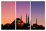 Suleymaniye Sundown Triptych 01 - Suleymaniye Mosque and Rustem Pasa Mosque at sundown, from Eminonu, Istanbul, Turkey. A combination of three shots, each taken five minutes apart at sundown.