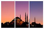 Suleymaniye Sundown Triptych 01 - Suleymaniye Mosque and Rustem Pasa Mosque at sundown, from Eminonu, Istanbul, Turkey. A combination of three shots, each taken five minutes apart at sundown.