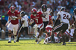 Nyheim Hines (7) of the North Carolina State Wolfpack runs with the football during second half action against the South Carolina Gamecocks in the Belk College Kickoff at Bank of America Stadium on September 2, 2017 in Charlotte, North Carolina.  The Gamecocks defeated the Wolfpack 35-28.  (Brian Westerholt/Four Seam Images)