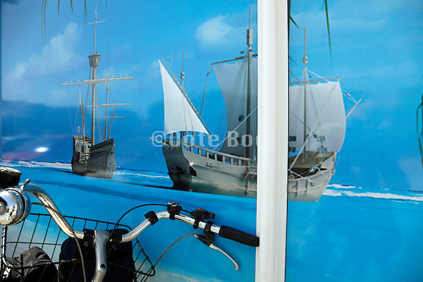 large print of a tropical sea with old Spanish galleon ships
