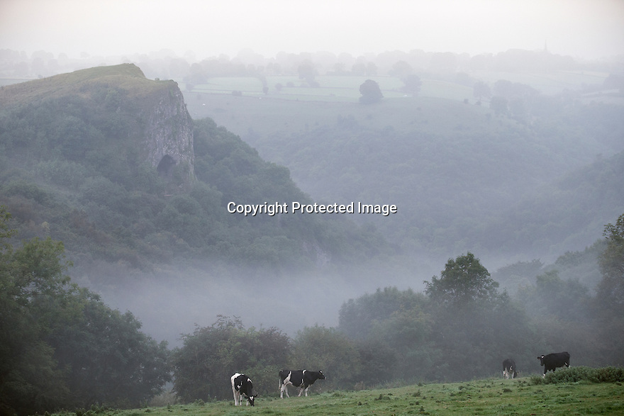21/09/16 <br /> <br /> With the Autumn Equinox marking the first day of Autumn tomorrow, Thor's Cave emerges through the mist in the Manifold Valley area of the White Peak in the Staffordshire Moorlands.<br /> <br /> All Rights Reserved: F Stop Press Ltd. +44(0)1773 550665   www.fstoppress.com