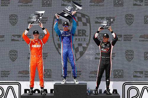 Verizon IndyCar Series<br /> Kohler Grand Prix<br /> Road America, Elkhart Lake, WI USA<br /> Sunday 25 June 2017<br /> Josef Newgarden, Team Penske Chevrolet Scott Dixon, Chip Ganassi Racing Teams Honda Helio Castroneves, Team Penske Chevrolet podium<br /> World Copyright: Michael L. Levitt<br /> LAT Images