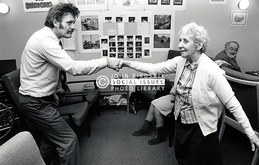 Elderly woman dancing, New Basford Community Centre, Nottingham UK 1986