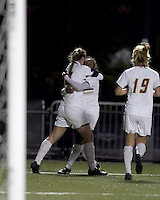 "Boston College forward Brooke Knowlton (16) celebrates goal with Boston College forward Natalie Crutchfield (9). Boston College defeated West Virginia, 4-0, in NCAA tournament ""Sweet 16"" match at Newton Soccer Field, Newton, MA."