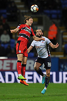 Michael Hefele of Huddersfield Town goes up for an aerial challenge with Aaron Wilbraham of Bolton Wanderers during Bolton Wanderers vs Huddersfield Town, Emirates FA Cup Football at the Macron Stadium on 6th January 2018