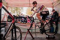 CX World Champion Wout Van Aert (BEL/Cibel-Cebon) warming up<br /> <br /> Men's race<br /> Superprestige Asper-Gavere 2018 (BEL)