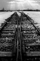POLEN, 05.1989.Osviecim (Auschwitz).Gedenkstaette K.L. Auschwitz II - Birkenau: Die Gleise teilen sich vor der Selektionsrampe..Former concentration camp: Rails before the selection ramp at Auschwitz II Birkenau..© Martin Fejer/est&ost