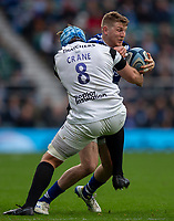 Bath Rugby's Ruaridh McConnochie is tackled by Bristol Bears' Jordan Crane<br /> <br /> Photographer Bob Bradford/CameraSport<br /> <br /> Gallagher Premiership - Bath Rugby v Bristol Bears - Saturday 6th April 2019 - The Recreation Ground - Bath<br /> <br /> World Copyright © 2019 CameraSport. All rights reserved. 43 Linden Ave. Countesthorpe. Leicester. England. LE8 5PG - Tel: +44 (0) 116 277 4147 - admin@camerasport.com - www.camerasport.com