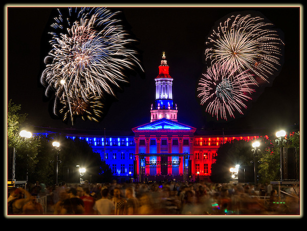 The Denver Courthouse and Independence Day fireworks.<br />