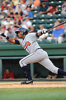 Third baseman Carlos Franco (11) of the Rome Braves in a game against the Greenville Drive on Thursday, August 22, 2013, at Fluor Field at the West End in Greenville, South Carolina. Rome won, 7-3. Franco is the Atlanta Braves' No. 21 prospect, according to Baseball America. (Tom Priddy/Four Seam Images)