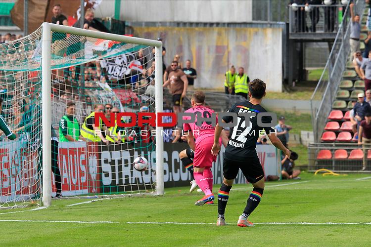 11.08.2019, Stadion Lohmühle, Luebeck, GER, DFB-Pokal, 1. Runde VFB Lübeck vs 1.FC St. Pauli<br /> <br /> DFB REGULATIONS PROHIBIT ANY USE OF PHOTOGRAPHS AS IMAGE SEQUENCES AND/OR QUASI-VIDEO.<br /> <br /> im Bild / picture shows Tor zum 1:0 . Torschütze/Torschuetze Yannick Deichmann (VfB Luebeck) nicht im Bild  trifft zum 1:0 ins Tor von Torwart Robin Himmelmann (FC St. Pauli)<br /> <br /> <br /> Foto © nordphoto / Freund