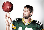 Green Bay Packers quarterback Aaron Rodgers poses for a portrait in Green Bay, Wisconsin on July 31, 2009. (Photo by David Stluka)