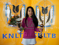 Rotterdam, The Netherlands, 07.03.2014. NOJK ,National Indoor Juniors Championships of 2014, 12and 16 years, Winner girls 12 years Lian Tran (NED)<br /> Photo:Tennisimages/Henk Koster