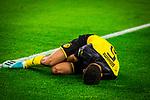 05.11.2019, Signal Iduna Park, Dortmund , GER, Champions League, Gruppenphase, Borussia Dortmund vs Inter Mailand, UEFA REGULATIONS PROHIBIT ANY USE OF PHOTOGRAPHS AS IMAGE SEQUENCES AND/OR QUASI-VIDEO<br /> <br /> im Bild | picture shows:<br /> Achraf Hakimi (Borussia Dortmund #5) bleibt verletzt am Boden liegen, <br /> <br /> Foto © nordphoto / Rauch
