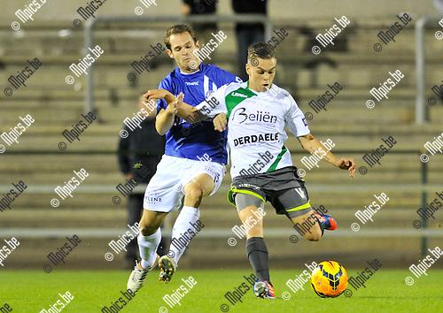 2014-09-03 / voetbal / seizoen 2014-2015 / ASV Geel - Lommel United / Leandro Trossard (r) (Lommel) trapt een pass onder druk van Ken Van Mierlo (l) (Geel)