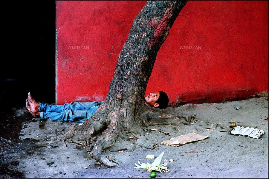 2000. Daily life of street kids in Managua, Nicaragua. A drug addicted gang member lies under a tree in the market. Un membre du gang, drogué, est étendu sous un arbre dans le marché.