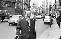 Claude Wilton, solicitor, Londonderry, N Ireland, October 1965, prominent in local politics as a Liberal and subsequently the SDLP. He was also actively involved in the N Ireland Civil Rights Association. Photograph taken in Waterloo Place, Londonderry, 196510000010b<br />