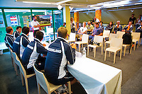 Austria, Kitzbuhel, Juli 14, 2015, Tennis, Davis Cup, Training Dutch team at the the press conference, <br /> Photo: Tennisimages/Henk Koster