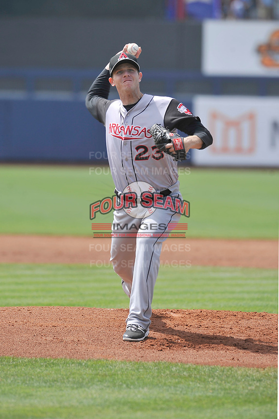 Arkansas Travelers starting pitcher Justin DeFratus (23) throws during a game against the Tulsa Drillers at Oneok Field on May 22, 2017 in Tulsa, Oklahoma.  Arkansas won 5-4.  (Dennis Hubbard/Four Seam Images)