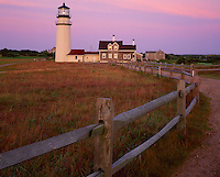 Cape Cod National Seashore, MA: Highland Light - remnamed Cape Cod Light and the Queen Anne style keeper's house (1854) at dawn