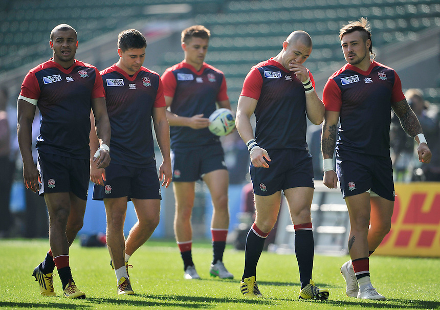 England's Jonathan Joseph, Ben Youngs, Henry Slade, Mike Brown and Jack Nowell<br /> <br /> Photographer Ashley Western/CameraSport<br /> <br /> Rugby Union - 2015 Rugby World Cup Pool A - Training session - England v Australia - Friday 2nd October 2015 - Twickenham<br /> <br /> &copy; CameraSport - 43 Linden Ave. Countesthorpe. Leicester. England. LE8 5PG - Tel: +44 (0) 116 277 4147 - admin@camerasport.com - www.camerasport.com