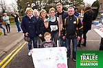 Tara Conway 56, at the finish with supporters Mike Conway, Wayne Conway, Chelsey Conway, Margaret Conway, Ann Conway, Cader O'Mahony (front) who took part in the Kerry's Eye Tralee International Marathon on Sunday 16th March 2014.