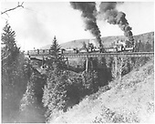 D&amp;RG engines #419 &amp; #406 with freight train posed on Lobato trestle.<br /> D&amp;RG  Lobato, NM  ca 1908