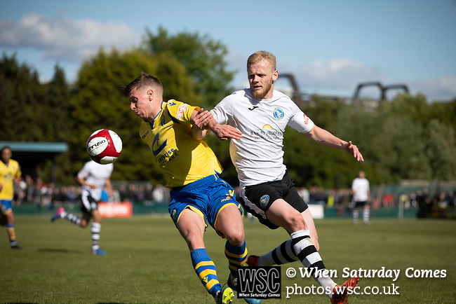 Home winger Jack Mackreth (left) and Frazer Blake-Tracy battle for the ball as Warrington Town played King's Lynn Town in the Northern Premier League premier division super play-off final tie at Cantilever Park, Warrington. The one-off match was between the winners of play-off matches in the Northern Premier League and the Southern League Premier Division Central to determine who would be promoted to the National League North. The visitors from Norfolk won 3-2 after extra-time, watched by a near-capacity crowd of 2,200.