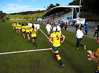 The teams run out for the 2017 International Women's Rugby Series rugby match between England Roses and Australia Wallaroos at Porirua Park in Wellington, New Zealand on Friday, 9 June 2017. Photo: Dave Lintott / lintottphoto.co.nz