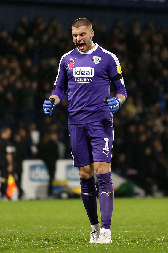 West Bromwich Albion's Sam Johnstone celebrates after his side go 1-0 ahead.<br /> <br /> Photographer David Shipman/CameraSport<br /> <br /> The EFL Sky Bet Championship - West Bromwich Albion v Leeds United - Saturday 10th November 2018 - The Hawthorns - West Bromwich<br /> <br /> World Copyright © 2018 CameraSport. All rights reserved. 43 Linden Ave. Countesthorpe. Leicester. England. LE8 5PG - Tel: +44 (0) 116 277 4147 - admin@camerasport.com - www.camerasport.com
