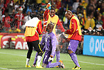 13 JUN 2010: Richard Kingson (GHA) (22) is doused by teammates on his birthday after the game. The Serbia National Team lost 0-1 to the Ghana National Team at Loftus Versfeld Stadium in Tshwane/Pretoria, South Africa in a 2010 FIFA World Cup Group D match.