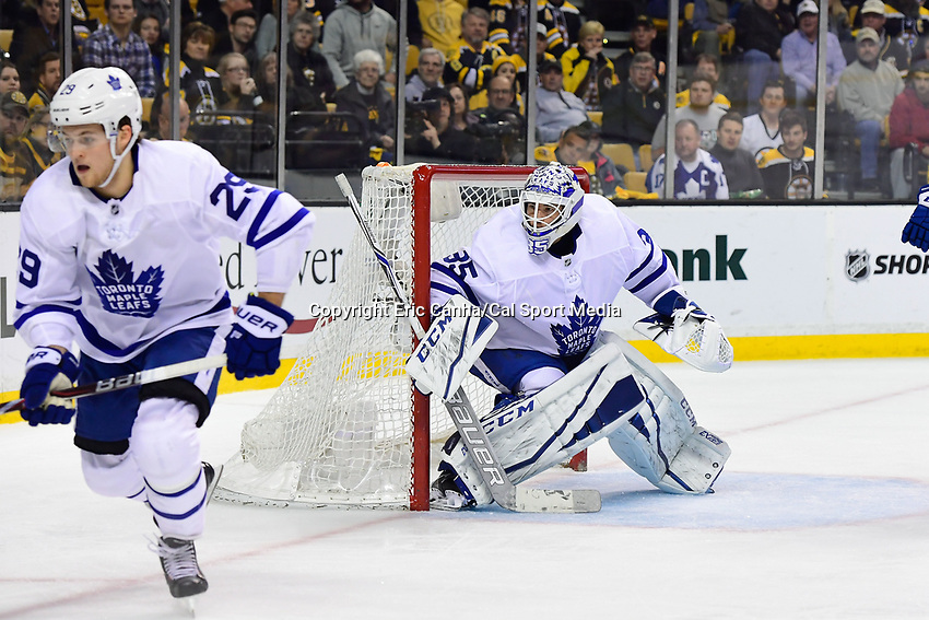 April 14, 2018: Toronto Maple Leafs goaltender Curtis McElhinney (35) tends the net during game two of the first round of the National Hockey League's Eastern Conference Stanley Cup playoffs between the Toronto Maple Leafs and the Boston Bruins held at TD Garden, in Boston, Mass. Boston defeats Toronto 7-3. Eric Canha/CSM