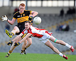 22-01-12: Johnny Buckley, Dr Crokes, under pressure  from George O'Keeffe,  Rathmore in the East Kerry O'Donoghue Cup final  in Fitzgerald Stadium, Killarney on Sunday. Picture: Eamonn Keogh ( MacMonagle, Killarney)