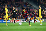 UEFA Champions League 2013/2014.<br /> Quarter-finals 1st leg.<br /> FC Barcelona vs Club Atletico de Madrid: 1-1.<br /> Miranda, Neymar &amp; Diego.
