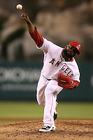 08/16/11 Anaheim, CA: Los Angeles Angels relief pitcher Fernando Rodney #56 during an MLB game played between the Texas Rangers and the Los Angeles Angels at Angel Stadium. The Rangers defeated the Angels 7-3.