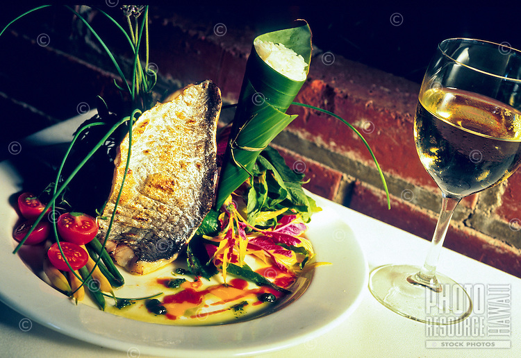 A fine fish presentation put together by Chef Glen Chu at Indigo Restaurant in Chinatown, downtown Honolulu, Hawaii