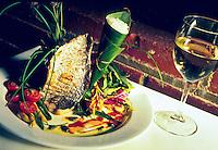 A fine fish presentation put together by Chef Glen Chu at Indigo Restaurant in Chinatown, downtown Honolulu, Hawaii