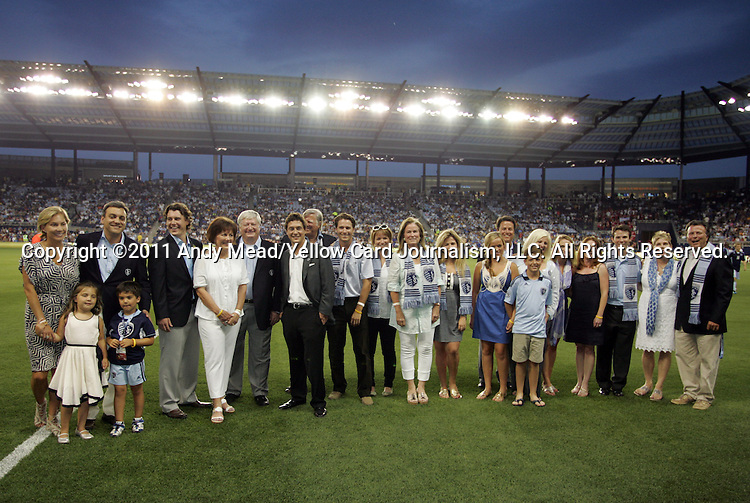 09 June 2011: The five owners of Sporting Kansas City pose with their families before the game. Sporting Kansas City played the Chicago Fire to a 0-0 tie in the inaugural game at LIVESTRONG Sporting Park in Kansas City, Kansas in a 2011 regular season Major League Soccer game.