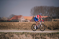 Dutch Champion Ramon Sinkeldam (NED/Groupama-FDJ) rolling over the 'Plugstreets'<br /> <br /> 81st Gent-Wevelgem in Flanders Fields (1.UWT)<br /> Deinze &gt; Wevelgem (251km)