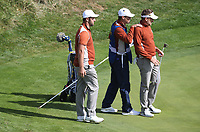 Ian Poulter (Team Europe) on the 16th with Jon Rahm (Team Europe) during Saturday's Fourballs, at the Ryder Cup, Le Golf National, Île-de-France, France. 29/09/2018.<br /> Picture David Lloyd / Golffile.ie<br /> <br /> All photo usage must carry mandatory copyright credit (© Golffile | David Lloyd)