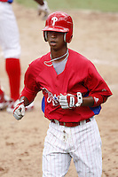 July 10, 2009:  Shortstop Edgar Duran (58) of the GCL Phillies during a game at Bright House Networks Field in Clearwater, FL.  The GCL Phillies are the Gulf Coast Rookie League affiliate of the Philadelphia Phillies.  Photo By Mike Janes/Four Seam Images