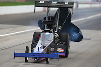 Aug 30, 2014; Clermont, IN, USA; NHRA top fuel dragster driver Pat Dakin during qualifying for the US Nationals at Lucas Oil Raceway. Mandatory Credit: Mark J. Rebilas-USA TODAY Sports