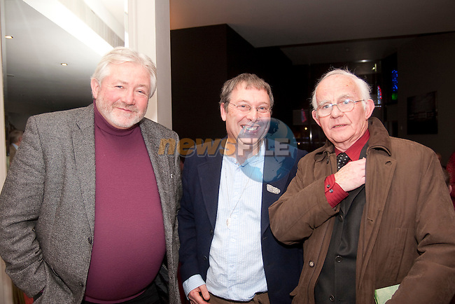 Kevin Matthews, Michael Holohan and Eoin Rafferty at the launch of Terry McHugh's poetry collection in the d Hotel on Friday night.