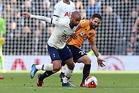 Diogo Jota of Wolverhampton Wanderers and Lucas of Tottenham Hotspur during Tottenham Hotspur vs Wolverhampton Wanderers, Premier League Football at Tottenham Hotspur Stadium on 1st March 2020