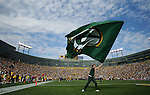A cheerleader waves a flag following Green Bay Packers receiver James Jones' touchdown against the Buffalo Bills during the home opener at Lambeau Field in Green Bay, Wis., on Sunday, Sept. 19, 2010.