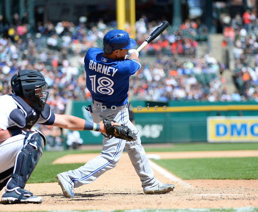 Toronto Blue Jays Darwin Barney (18) during a game against the Detroit Tigers on June 8, 2016 at Comerica Park in Detroit MI. The Blue Jays beat the Tigers 7-2.