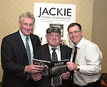 Killarney press photographer Don MacMonagle, right,  pictured at the launch of his photographic book on Jackie Healy-Rae TD in Killarney on Friday with former Kerry footballer Pat Spillane who launch the book. Entitled, 'Jackie-Keeping Up Appearances' the book contains over 100 colour photographs of the deputy taken during 1997-2002 recording his five years as an independent.<br />Picture by Eamonn Keogh / MacMonagle photography