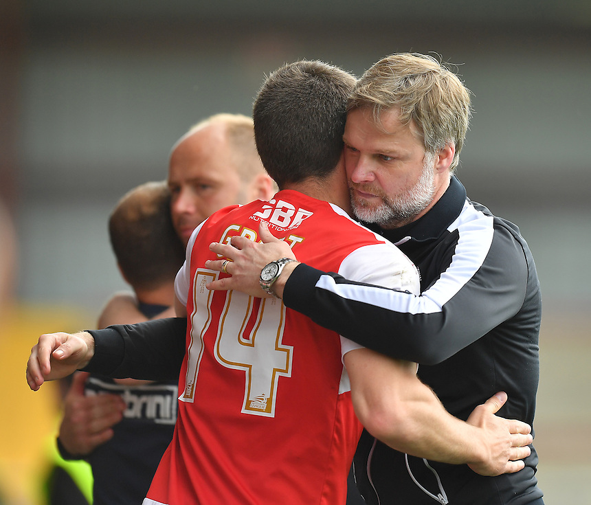 Fleetwood Town's Manager Steven Pressley and Bobby Grant have made up after last weeks spat.<br /> <br /> Photographer Dave Howarth/CameraSport<br /> <br /> Football - The Football League Sky Bet League One - Fleetwood Town v Crewe Alexandra - Sunday 8th May 2016 - Highbury Stadium - Fleetwood    <br /> <br /> &copy; CameraSport - 43 Linden Ave. Countesthorpe. Leicester. England. LE8 5PG - Tel: +44 (0) 116 277 4147 - admin@camerasport.com - www.camerasport.com